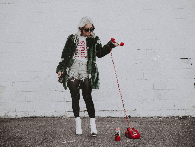 statement faux fur coat fashion blog cathclaire